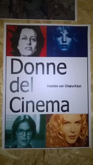 """Locandina dell'incontro """"Donne del Cinema"""" tenuto da Chiara Ricci"""