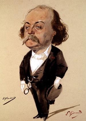 Una caricatura di Gustave Flaubert (fine Ottocento)