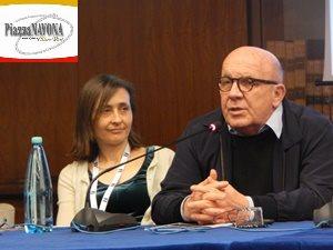 """La sceneggiatrice Monica Zapelli e il Produttore Carlo Degli Esposti alla conferenza stampa de """"Il Capitano Maria"""" (Ph. Chiara Ricci)"""