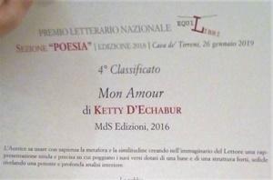 """Ketty D'Echabur, al quarto posto nella Seziona """"Poesia"""" del Premio Letterario Nazionale """"EquiLibri"""" - Edizione 2018"""