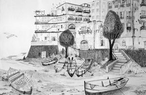 "Eduardo Orma, ""Abbasc o' Puort"", disegno a penna su foglio 50x70"