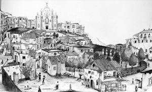 """Eduardo Orma, """"Vita nei borghi agli inizi del '900"""",  disegno a penna (100x70)"""