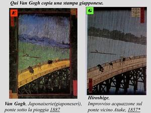 """Hiroshige, """"Improvviso acquazzone sul ponte vicino Atake"""" (1857) -   Van Gogh, """"Ponte sotto la pioggia"""" (1887)"""
