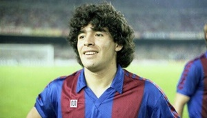 Diego Armando Maradona con la maglia del Barcellona