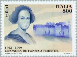 Il francobollo dedicato ad Eleonora Fonseca Pimentel realizzato in occasione del bicentenario della Rivoluzione Napoletana (1799 - 1999)