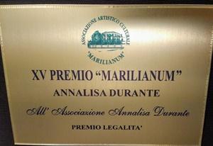"""L'Associazione """"Annalisa Durante"""" riceve il Premio Legalità"""