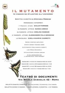 """Le repliche romane al Teatro dei Documenti di """"Il Mutamento. In viaggio da Atlantide all'Universo"""", scritto e diretto da Stefania Porrino"""